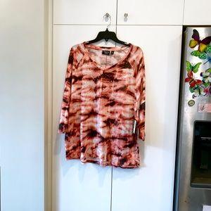 NWT Onque 2x blouse with rhinestones orange grey